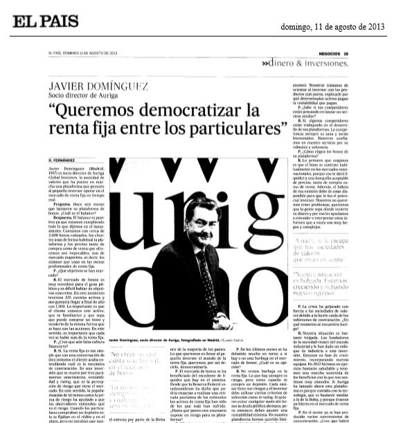 Artículo de Auriga en El País